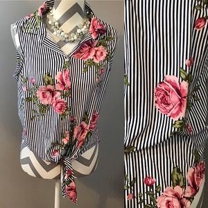 3 For $15  Striped Floral Sleeveless Blouse